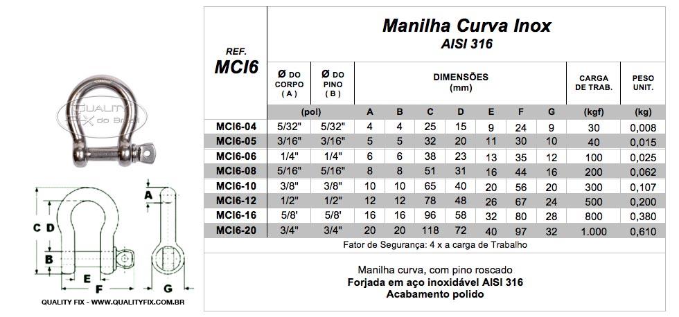 Manilha Curva Inox - Quality Fix