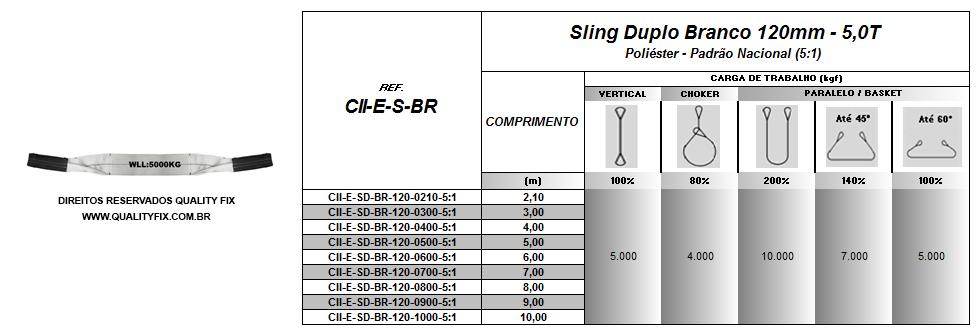 Cinta Sling Branco 120mm