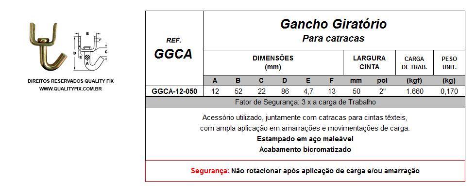Tabela de Especificações - Gancho Giratório para Catracas - Quality Fix