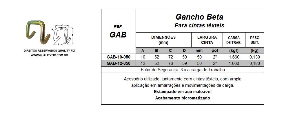 Tabela de Especificações - Gancho Beta para Cintas - Quality Fix