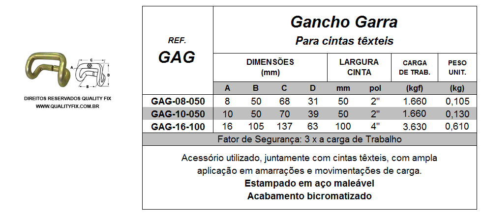 Tabela de Especificações - Gancho Garra para Cintas - Quality Fix
