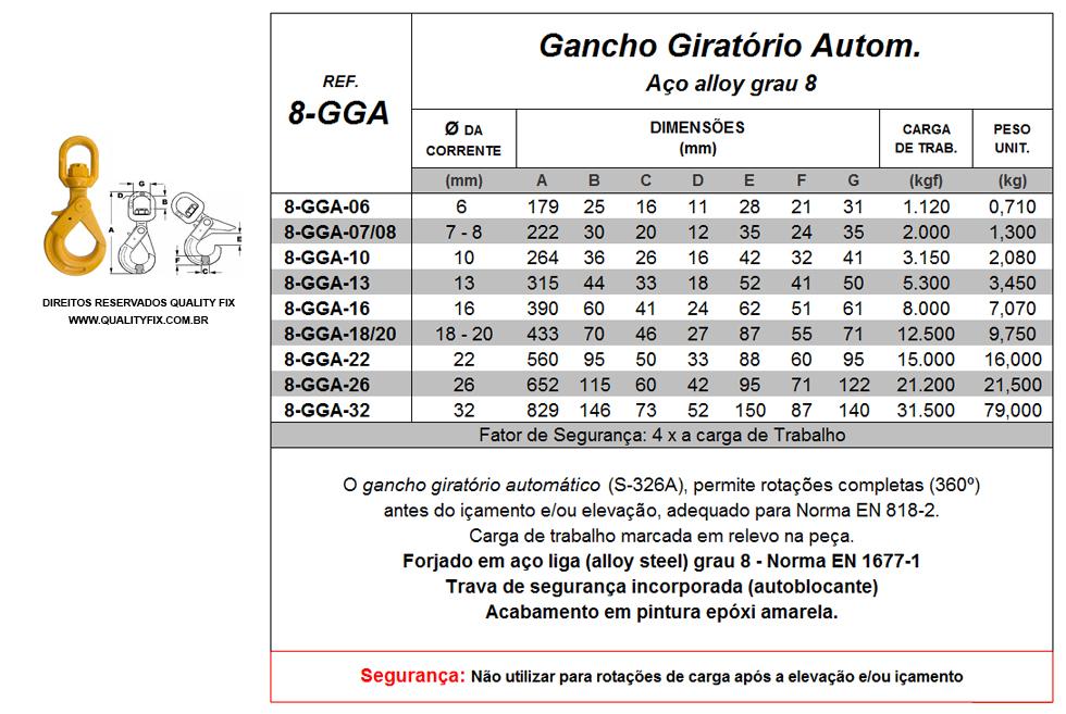 Tabela de Especificações - Gancho Giratório Automático - Quality Fix