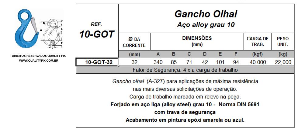 Tabela de Especificações - Gancho Olhal Forjado em Aço Liga Grau 10 - Quality Fix