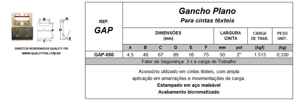 Tabela de Especificações - Gancho Plano para Cintas Têxteis - Quality Fix