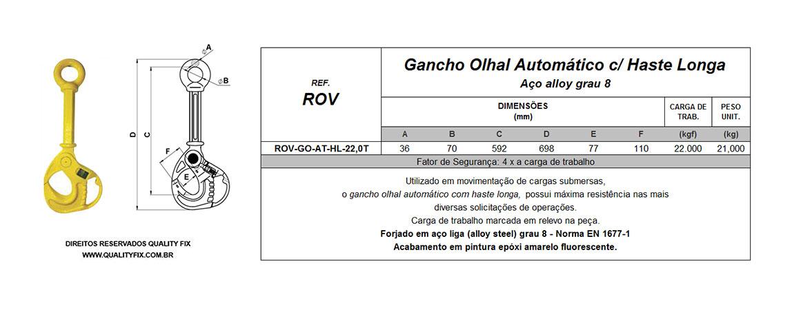 Tabela de Especificações - Gancho ROV com Trava Automática - Quality Fix