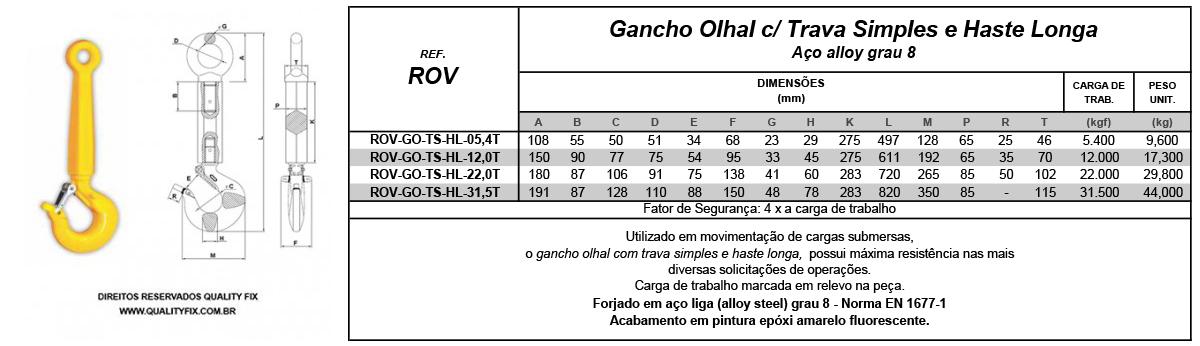 Tabela de Especificações - Gancho ROV Haste Longa - Quality Fix