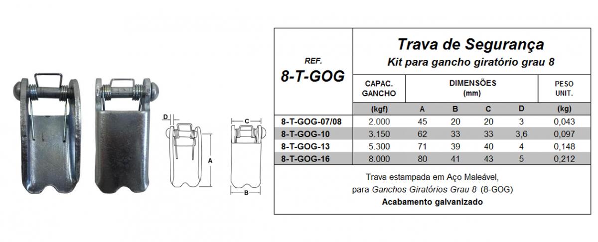 Tabela de Especificações - Kit para Gancho Giratório Grau 8 - Quality Fix