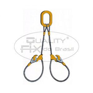 Linga de Cabo de Aço 2 Pernas com Ganchos Corrediços - Quality Fix