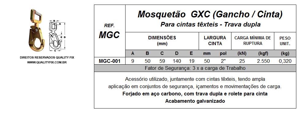 Tabela de Especificações - Mosquetão GxC (Gancho/Cinta) - Quality Fix