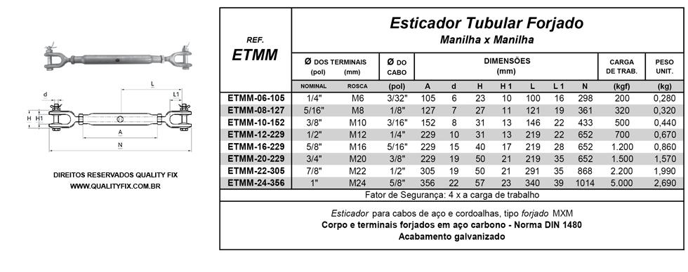 Tabela de Especificações - Esticador Tubular Forjado - Quality Fix