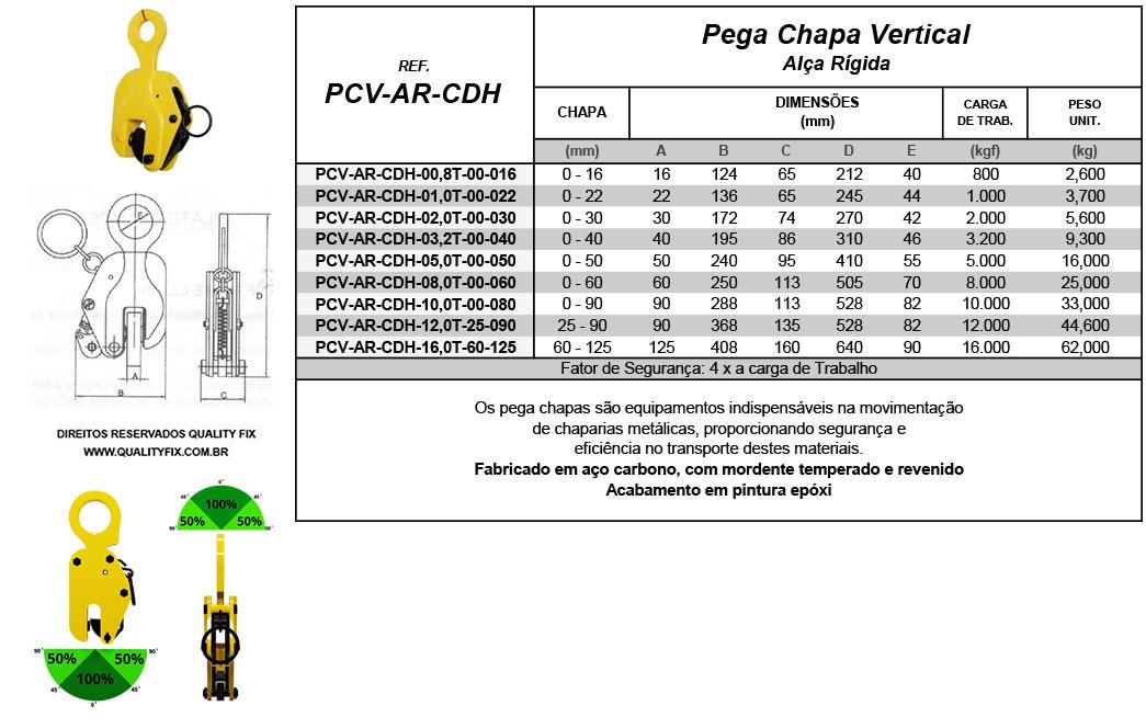 Tabela de Especificações - Pega Chapas Vertical Alça Rígida - Quality Fix