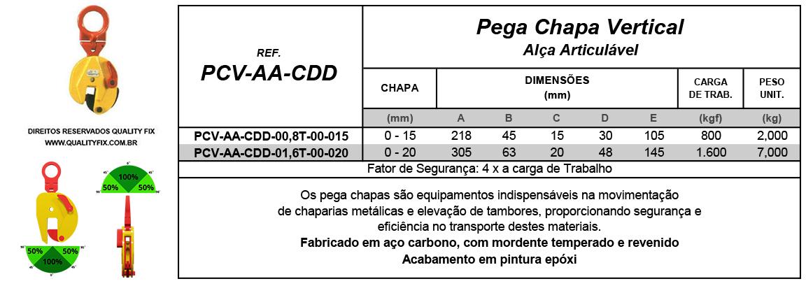 Tabela de Especificações - Pega Chapas Vertical CDD - Quality Fix