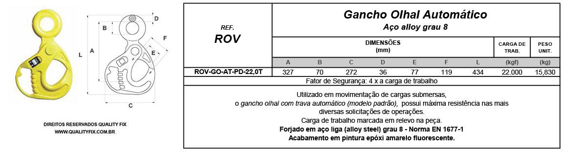 Tabela de Especificações - Gancho ROV Automático Padrão - Quality Fix